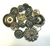 ANTIQUE VINTAGE BUTTON LOT OF 16 MOSTLY SILVER METAL MARCASITE CUT METAL