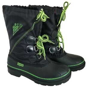 Arctic Cat Snowmobile Boots Black Green Waterproof Rubber Sole Removable Liner