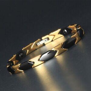 Black Gold Titanium Energy Bracelet Power Magnets Pain Relief for Arthritis