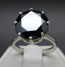 8.43cts 13.31mm Natural Black Diamond Ring, Certified AAA Grade & $4705 Value