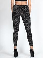 New Womens Ladies BLACK LEOPARD Animal Print LEGGINGS PLUS Size 8 10 12 14 16 18
