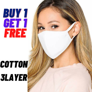 WHITE Face Mask Black Breathable Cotton Washable Reusable Adult Buy1 Get 1 Free