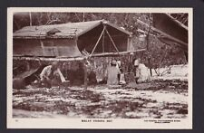 Malaya Malaysia 1900? Vintage Real Photo Postcard Malay Fishing Hut