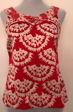 MONSOON 100% SILK BLOUSE RED / WHITE SIZE 8