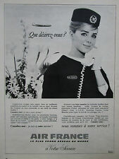 4//1967 PUB COMPAGNIE AIR FRANCE AIRLINE AIRLINER HOTESSE STEWARDESS FRENCH AD