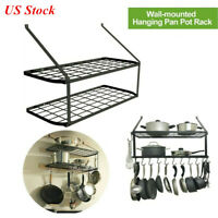 Hanging Pot Holder Pan Hanger Kitchen Wall Mount Rack Cookware Storage Shelf