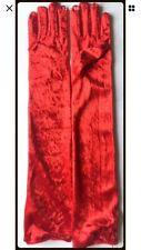 Red Velvet Opera Length Gloves, Evening Do, Masquerade Ball, Halloween, Gothic