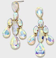 "2.5"" Long Aurora Borealis AB Dangle Crystal Pageant Rhinestone Earrings Gold"