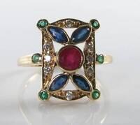 LONG 9K 9CT GOLD RUBY SAPPHIRE COLOMBIAN EMERALD DIAMOND ART DECO INS RING