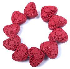 10 Cinnabar Carved Flower Heart Beads 15x19mm