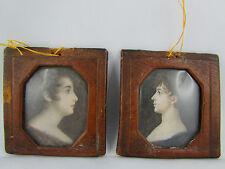 coppia in miniatura ep 19 ° empire dipinto ritratto donne al'antico quadro