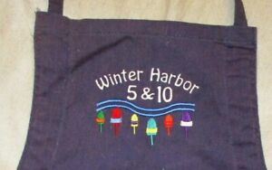 VINTAGE POLYESTER COTTON APRON EMBROIDERED WINTER HARBOR 5 & 10 BUOYS MAINE