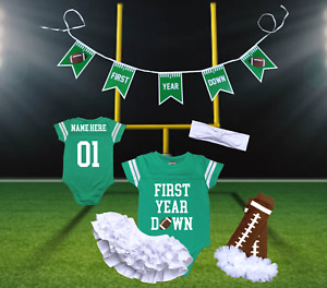 First Year Down Personalized Girls Birthday Green Football Jersey   Free Banner