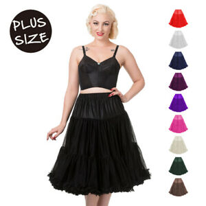 SUPER SOFT Retro 50s Pinup Underskirt Womens Petticoat Banned Apparel PLUS SIZE
