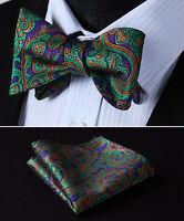 BP806GS Green Purple Paisley Bowtie Men Silk Self Bow Tie handkerchief set