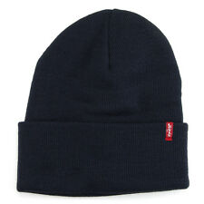 LEVI'S NEW Men's Beanie Hat Navy Blue Slouchy BNWT