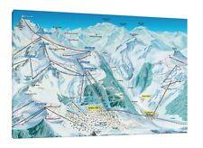 Verbier Ski MAP - 30x20 pollici Canvas-Snowboard Foto Incorniciata Alpi Svizzere