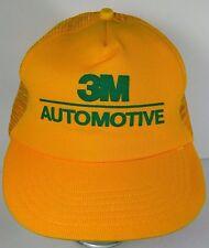 VINTAGE 1980s 3M AUTOMOTIVE CAR TRUCK ADVERTISING GREEN YELLOW SNAPBACK HAT CAP