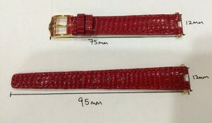 Gucci Red Lizard leather watch strap 12mm X10mm Authentic with 2pcs end piece.