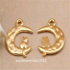 10pc Tibetan Gold moon Charm Beads Pendant Jewellery Making JP1025