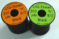 1 x 200 yards UNI Fil montage NOIR  6-0/8-0 mosca fliegen fly tying thread black