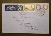 France 1939 Cover to USA Scott #307, 335, 337 x2   nice franking