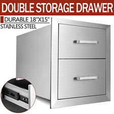 """15""""x20""""x18"""" ; Outdoor Kitchen Stainless Steel Double Access Bbq Drawers Usa"""