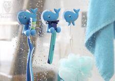 Bath Combo Blue Whale Set of 4 Toothbrush/Razor Holders & 2 Hooks