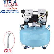 US Dental Medical Noiseless Silent Oilless Air Compressor Filter Chair+Handpiece