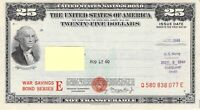 $25 WW II U.S. WAR SAVINGS BOND SERIES E 1943-1945 US Navy Uncancelled Freeship