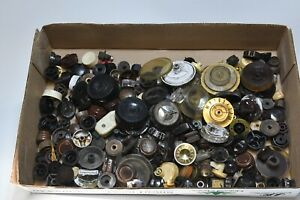 LARGE COLLECTION OF SALVAGED RADIO TUNER KNOBS 100+
