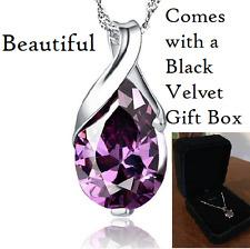 925 Sterling Silver Purple (amethyst color) Teardrop Necklace Velvet Gift Box