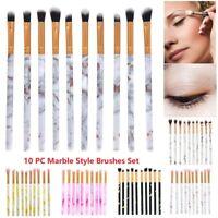10PCs Marble Make Up Brushes Eyeshadow Eyeliner Blending Eyebrow Brushes Set