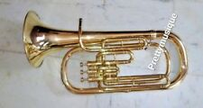 BARITONE HORN OF PURE BRASS IN GOLD POLISH + HARD CASE & MOUTHPC +FREE SHIPPING