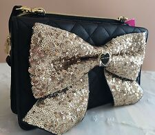 Betsey Johnson Gold Princess Big Bow Purse Sequin Wallet Glitter Crossbody New