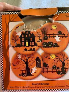 "Sakura Haunted Hideaway Salad/Dessert Plates - Set of 4 Halloween 8"" Plates"