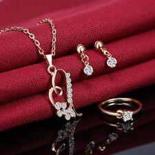 Gold Wedding Bridal Crystal Rhinestone Necklace Earrings Ring Jewelry Set Women