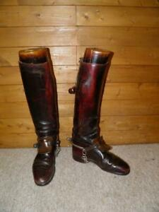 Powell & Sons Oxblood Leather Riding Boots With Wooden Boot Trees & Pulls UK 7