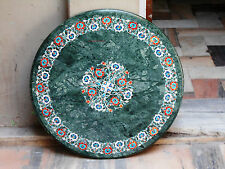 GREEN MARBLE DINING COFFEE ROUND SIDE TABLE TOP 2' MOSAIC INLAY WORK