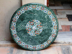 """18"""" Green Marble Dining Coffee Round Side Table Top Mosaic Inlay Work"""
