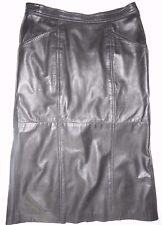 Begedor Italia Vintage 80s Skirt 10 Black Leather High Waist Long Midi Pencil