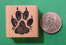 Dog Paw Print Rubber Stamp, Regular Size, Wood Mounted