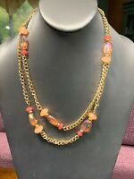 """Signed Erica Lyons Gold Peach Pink Long Beaded  AB Lucite Necklace Gold 40"""""""