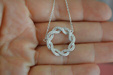 925 Sterling Silver Circle Infinity Knot Necklace w/ CZ - Circle Knot Necklace