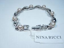 "Nina Ricci Rhodium Plated Bracelet - 7 1/4"" Length with Pearls 0059"