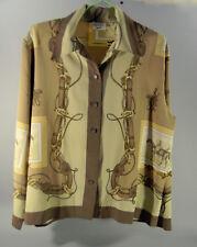 CHEMISIER VINTAGE motifs équestres, Weill, taille M/L, beige-marron, chevaux