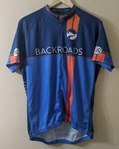Backroads Mens Short Sleeve Cycling Jersey Blue Louis Garneau Large Full Zip