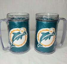 Vintage Miami Dolphins Insulated Mugs Set Of 2 NFL Thermo Serv Beer Beverage USA