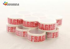 6 ROLLS OF FRAGILE PRINTED PACKING PARCEL TAPE 50mm x 66m