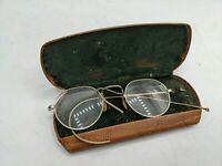 Marked 12K Gold Filled Wire Frame Antique Eyeglasses in Case VTG